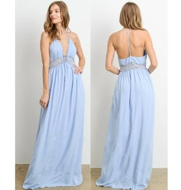 Having The Time Of My Life V-Neck Maxi Dress - Sky Blue