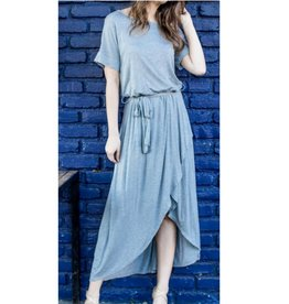Only Forever Pull Over Wrap Dress - Dusty Blue