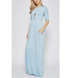 Now And Forever 3/4 Sleeve Maxi Dress - Dusty Blue