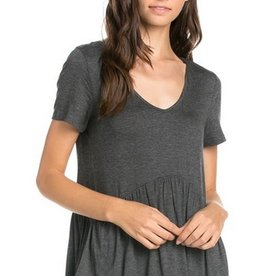 All Ruffled Up Blouse- Charcoal