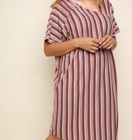 Run The Stripes Dress- Marsala Mix