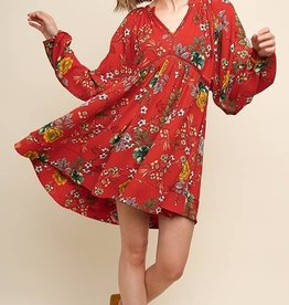 True To The Heart Dress- Red Mix