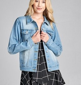 One For The Money Denim Jacket- Blue