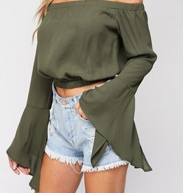 Butterfly Kisses Crop Top- Olive