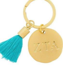 Round Tassel Keychain- Zeta Tau Alpha