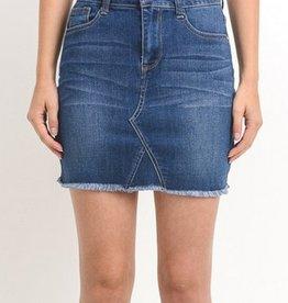 Keep It Short And Sweet Denim Skirt- Dark Wash