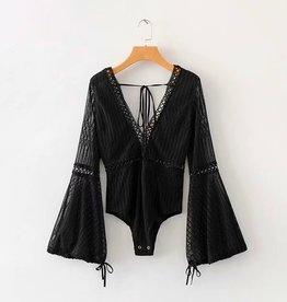 Change Your Plans Bodysuit- Black
