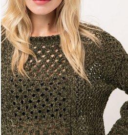 High Ball Crop Sweater- Olive