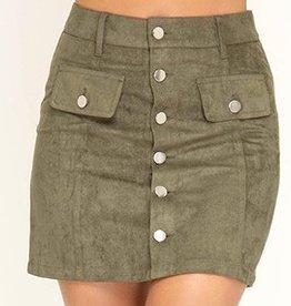 Shut It Down Mini Skirt- Olive