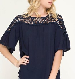 Just Be There Top- Navy