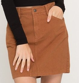 Concentrate On This Mini Skirt- Caramel