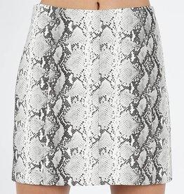 Just Let It Be Mini Skirt - Grey Snake