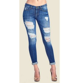 Love Hurts Mid Rise Boyfriend Jeans - Medium Dark