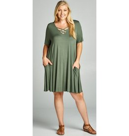 Always Here Dress- Olive