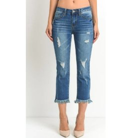Night Moves Cropped Flare Jeans- M. Wash