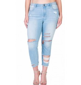 False Alarm Shredded Skinny Jeans- Light Denim