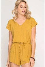 Jump Into Things Romper- Mustard