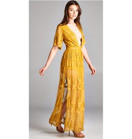 Taken To Heart Lace Maxi Dress - Chloe Yellow