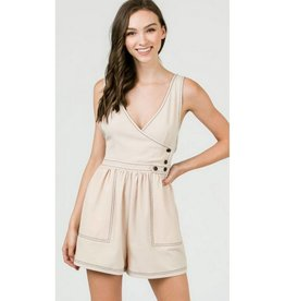 Give In To Me Romper- Beige