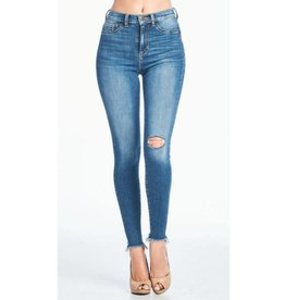 No Limits Distressed High Rise Skinny Jeans - Medium Dark
