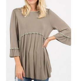 Hippie Girl Long Sleeve Top- Olive