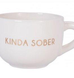 Large Ceramic Cappuccino Mug- Kinda Sober