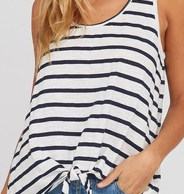 The One Tank Top- Ivory/Navy