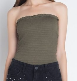 While I'm Around Tube Crop Top- Olive