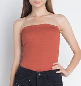 While I'm Around Tube Crop Top- Rust
