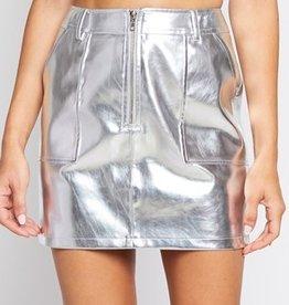 Set Me Free Mini Skirt- Silver
