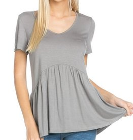 All Ruffled Up Blouse - Grey