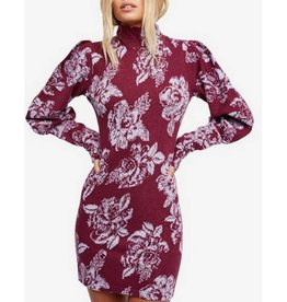 FREE PEOPLE Farrah Wool Blend Mini Dress-Plum