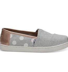 TOMS Polka Dots YOUTH Classic- Drizzle Grey Felt