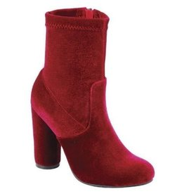 Going Uptown High Heel Velvet Booties - Red