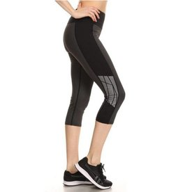 Silver Moon Reflective Cropped Leggings - Black