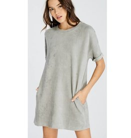 Today Is Your Day Suede Dress- Silver