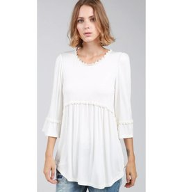 Hippie Girl Long Sleeve Top- Ivory