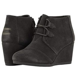 TOMS Kala Suede Wedge Booties - Forged Iron Grey
