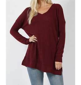 All The Info You Need Sweater- Dark Burgundy