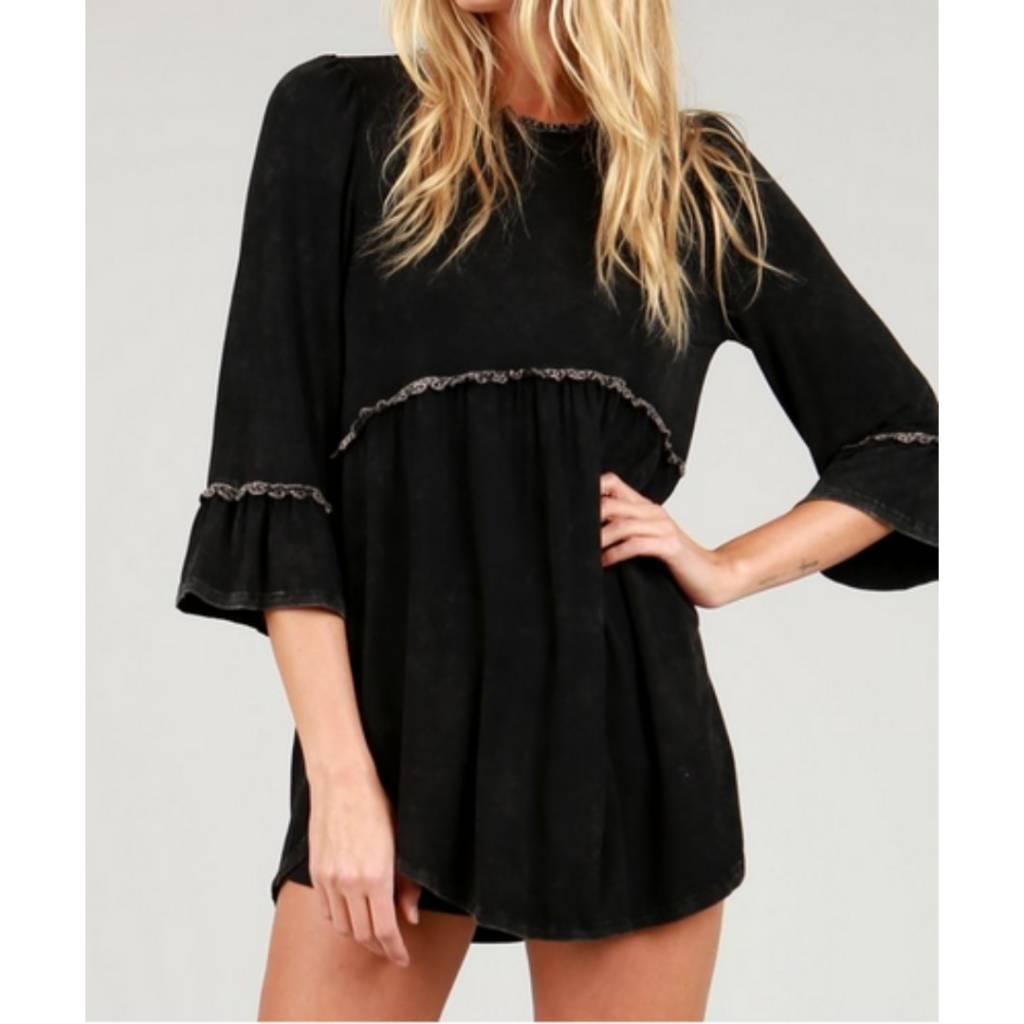 Hippie Girl Long Sleeve Top- Black