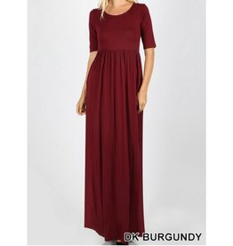 Now And Forever 3/4 Sleeve Maxi Dress - Dark Burgundy
