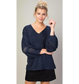 Back In Action Sweater Top- Navy