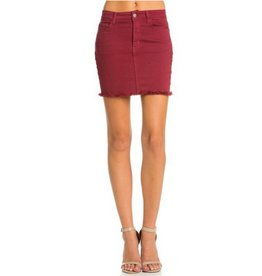 Ready For Fun Denim Skirt - Wine
