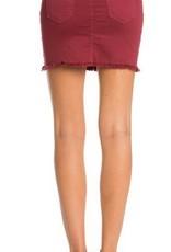 Ready For Fun Denim Skirt - Wine