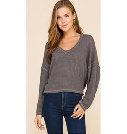 Simple Perfection Top- Charcoal