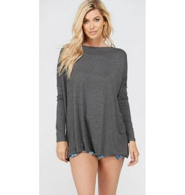 Flowy Piko Top- Charcoal
