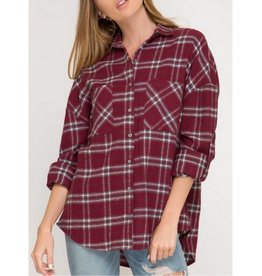 Here And There Button Down Top- Burgundy