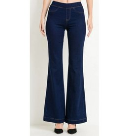 Know You're Worth It Flare Jeans- Super Dark Wash