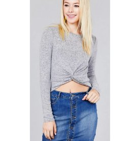 Something To Remember Crop Top- Heather Grey