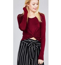 One Way Ticket Crop Top- Ruby Burgundy